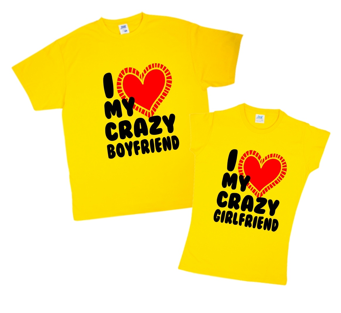 Парные футболки - I love my crazy boyfriend